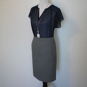 BANANA REPUBLIC Size 6 Gray Blue Skirt Blouse